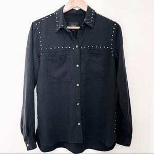 NWOT Rails Black Studded Button Down Shirt